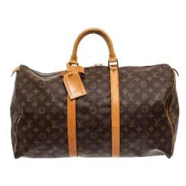 Louis Vuitton Monogram Canvas Leather Keepall 50 cm