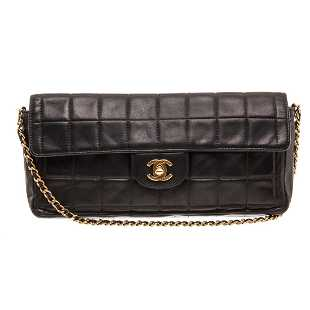 40048599f424 Chanel Black Lambskin Chocolate Bar East West Flap Bag