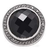 David Yurman Sterling Silver Diamond Black Onyx 17mm