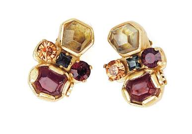 CHANEL Goldtone and Multicolor Stone Clip On Earrings