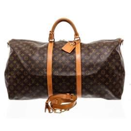 Louis Vuitton Monogram Canvas Leather Keepall 60 cm