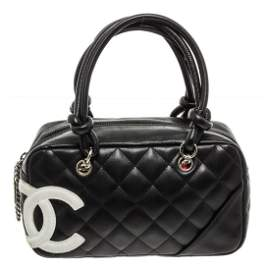 Chanel Black Quilted Calfskin Leather Mini Cambon