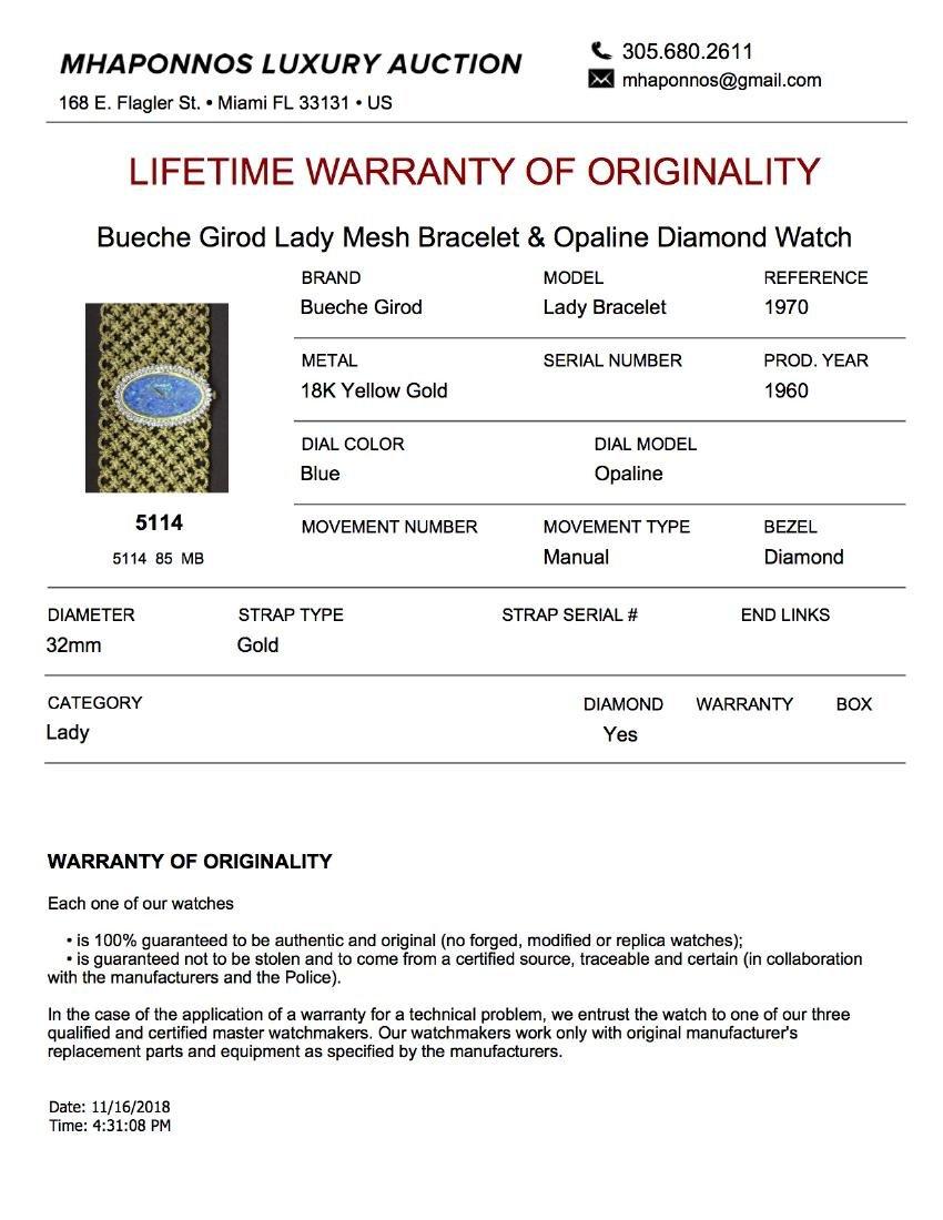 Bueche Girod Lady Mesh Bracelet & Opaline Diamond Watch - 5