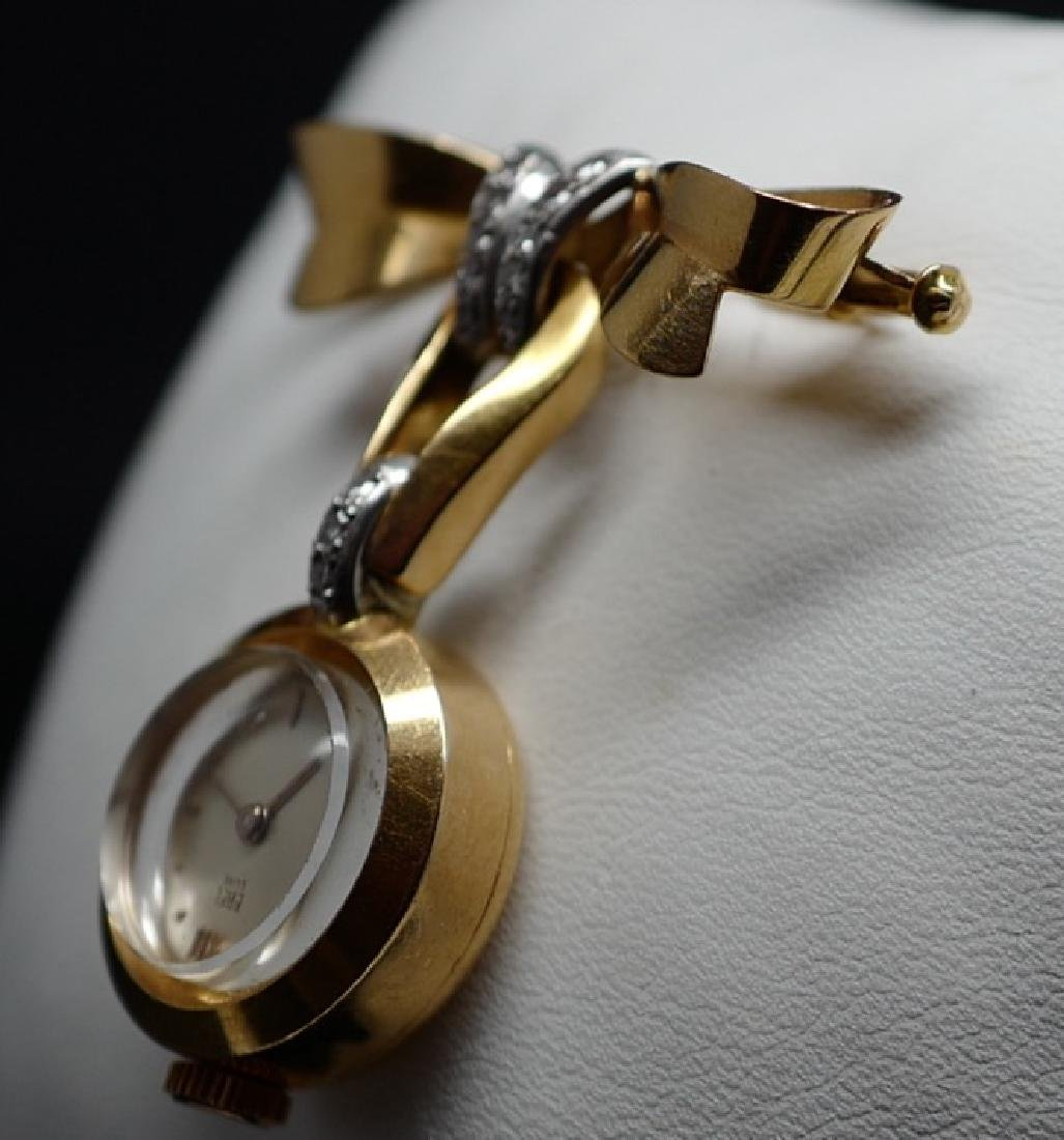Ebel Lux Lapel Pin in Yellow Gold with Diamonds - 6