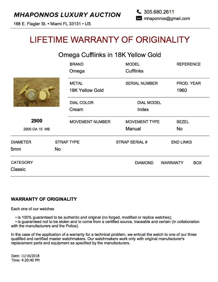 Omega Cufflinks in 18K Yellow Gold - 6