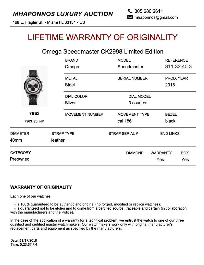 "Omega Speedmaster ""CK 2998"" Limited Edition - 6"