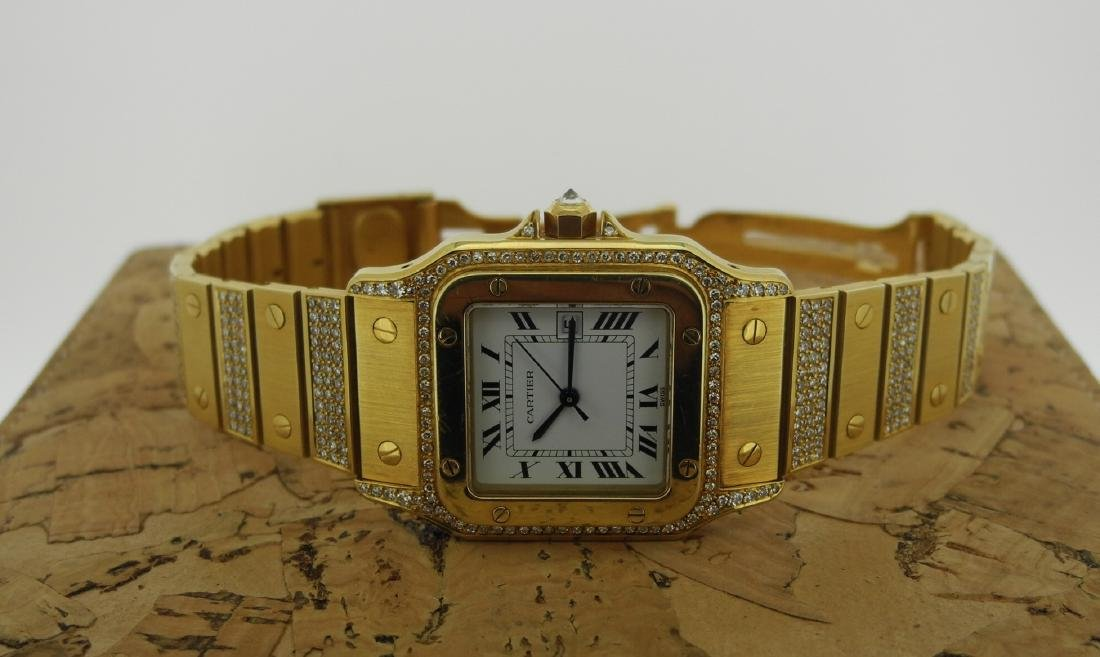 Cartier Santos in Yellow Gold with Diamonds on Case