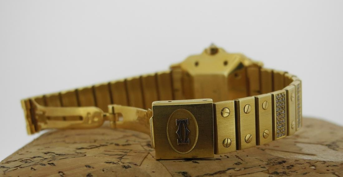 Cartier Santos in Yellow Gold with Diamonds on Case - 5