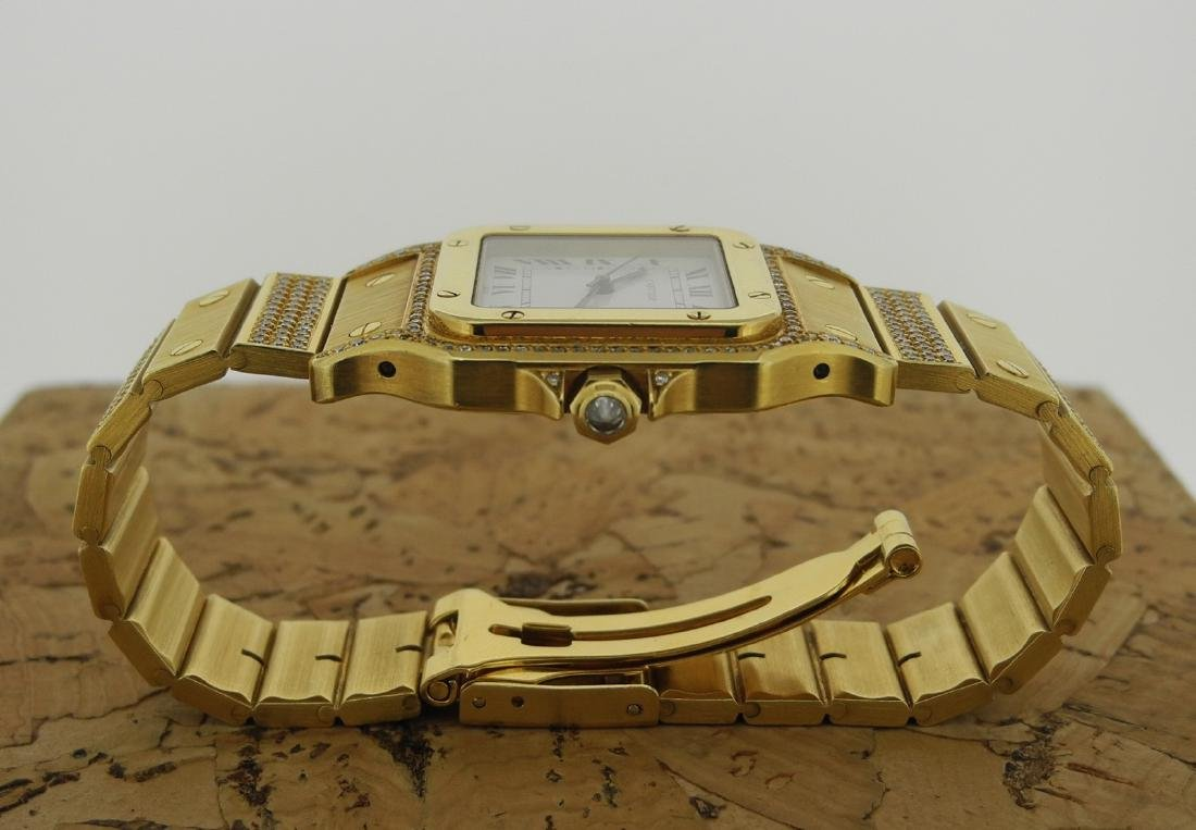 Cartier Santos in Yellow Gold with Diamonds on Case - 6