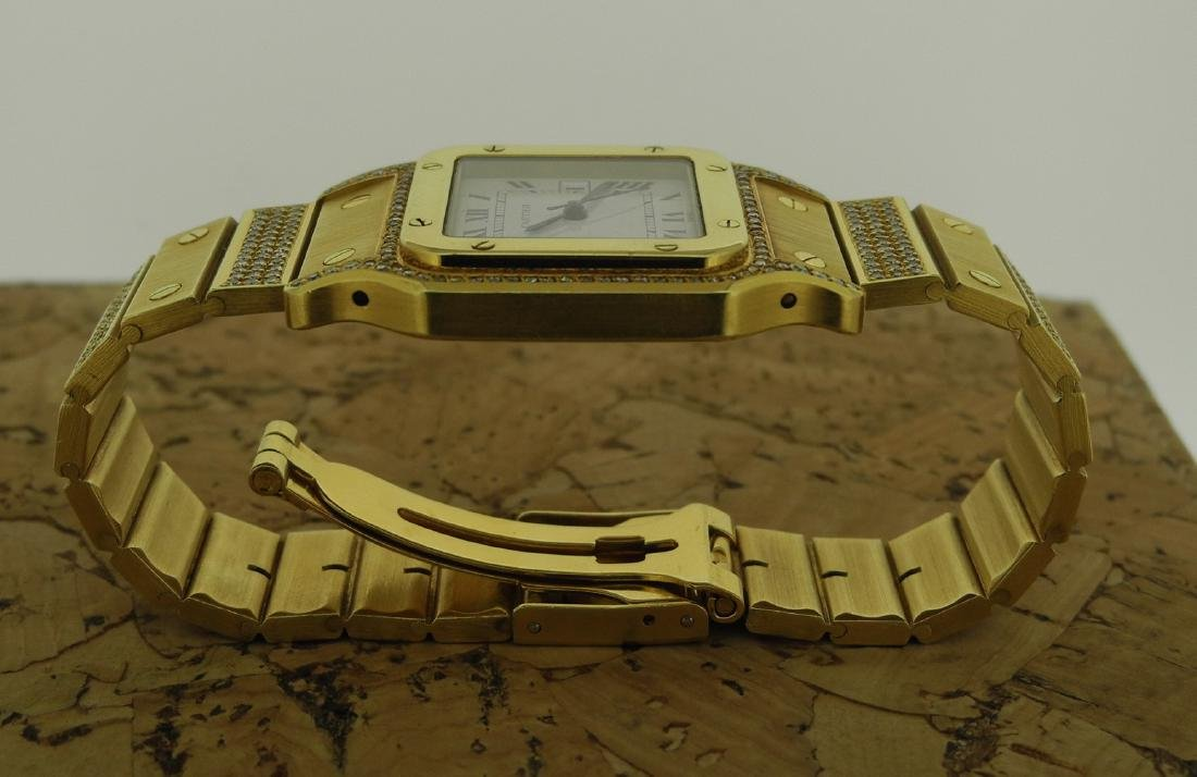 Cartier Santos in Yellow Gold with Diamonds on Case - 7