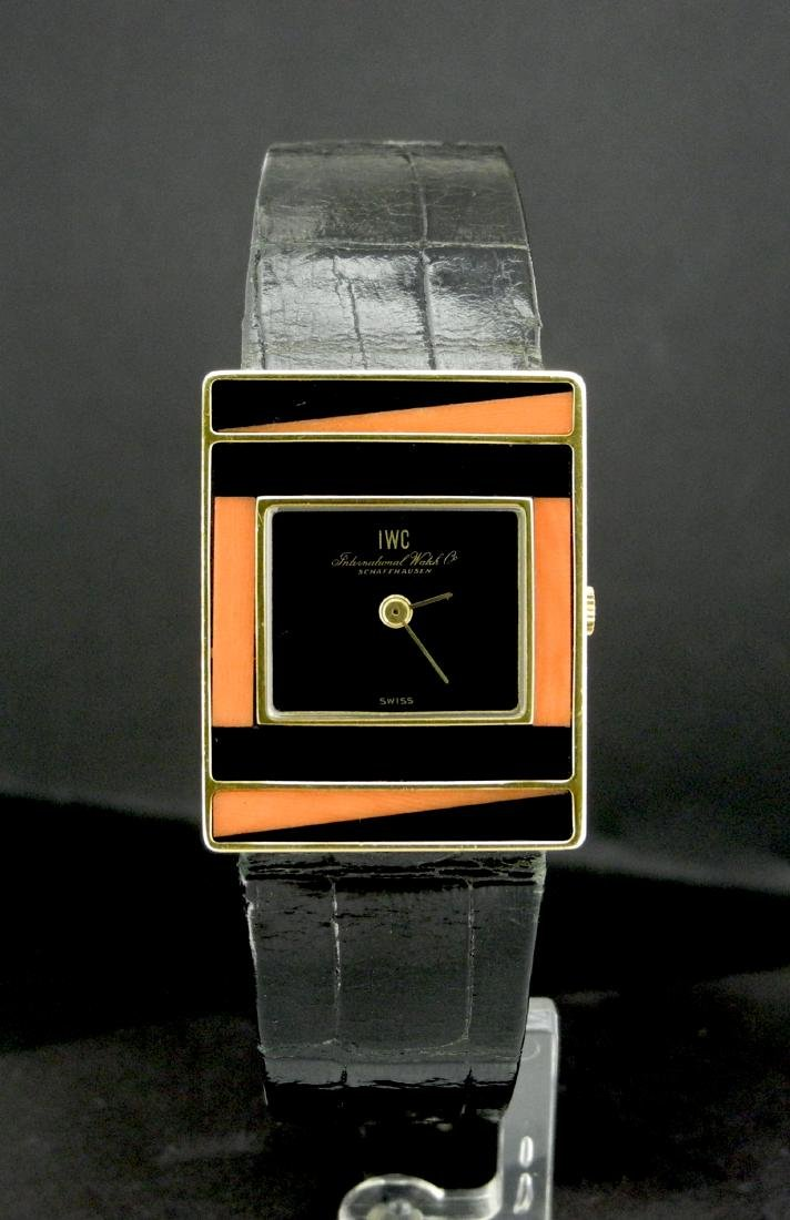 IWC Gold Square Watch with Black Enamel & Coral Accents