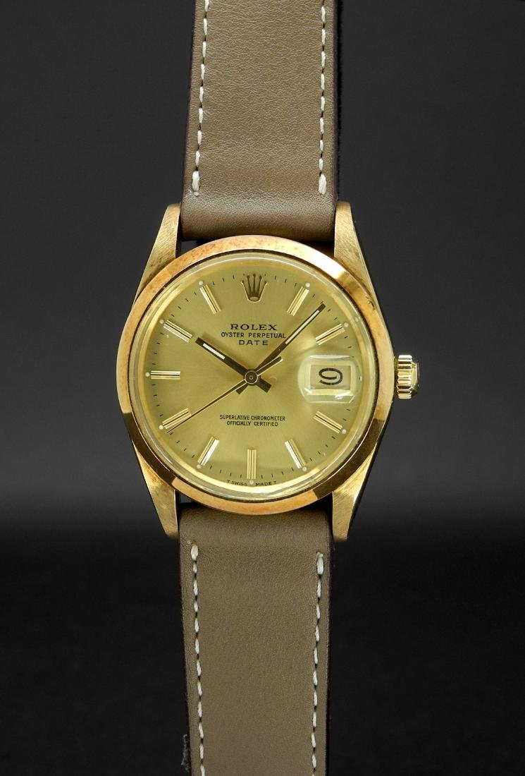 Rolex Date 15007 in 14K Yellow Gold on Leather Case