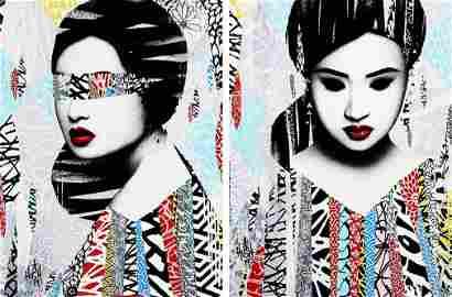 HUSH 'Faces I/II' Hand-Painted Screen Print SET