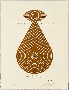 SHEPARD FAIREY Earth Crisis Letterpress Gold Screen