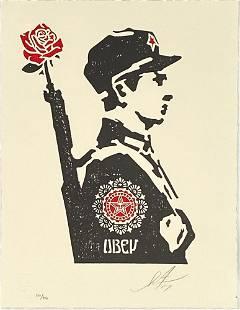 SHEPARD FAIREY Rose Soldier Letterpress