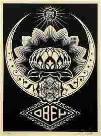 SHEPARD FAIREY 'Lotus Ornament' (black) Screen Print