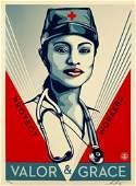 SHEPARD FAIREY 'Valor & Grace Nurse' Screen Print