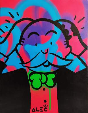 ALEC MONOPOLY 'Monopoly Man' *ORIGINAL* on Canvas