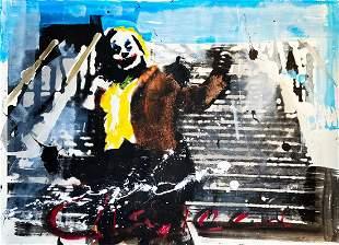CHAPEAU 'Joker on the Stairs' Original Mixed Media