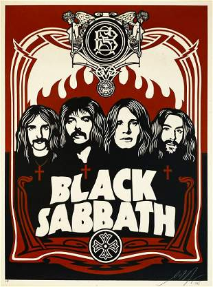 SHEPARD FAIREY 'Black Sabbath' (red) Screen Print