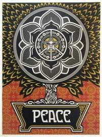 SHEPARD FAIREY 'Peace Tree' (gold) Screen Print