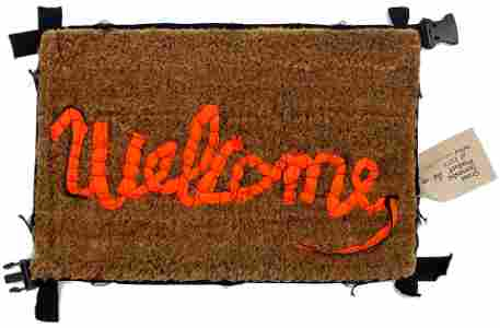 BANKSY 'Welcome Mat' Hand-Stitched Floor Mat