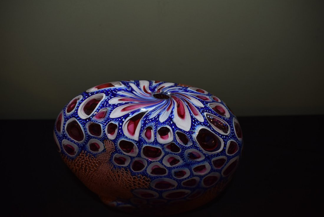 Wes Hunting Large Abstract Art Glass Vase - 4