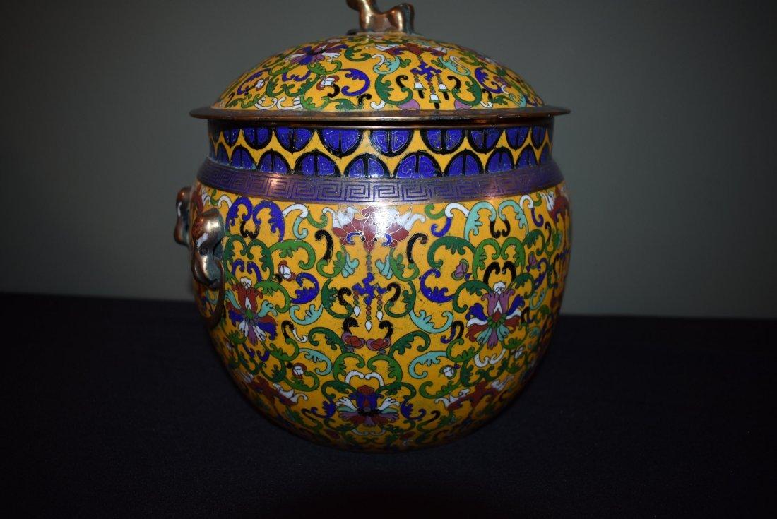 Antique Cloisonne Lidded Ginger Jar - 2