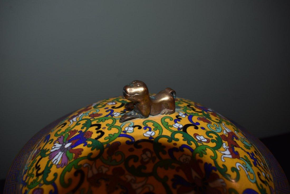 Antique Cloisonne Lidded Ginger Jar - 4