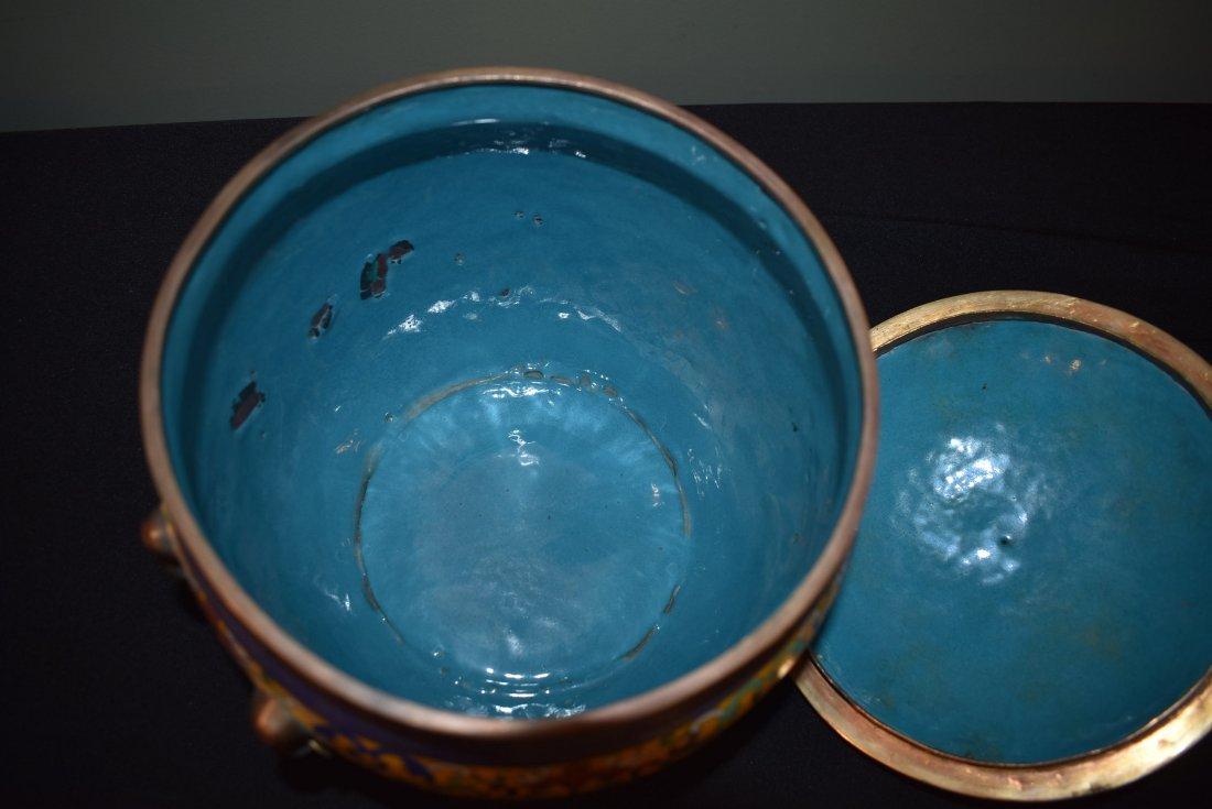 Antique Cloisonne Lidded Ginger Jar - 6