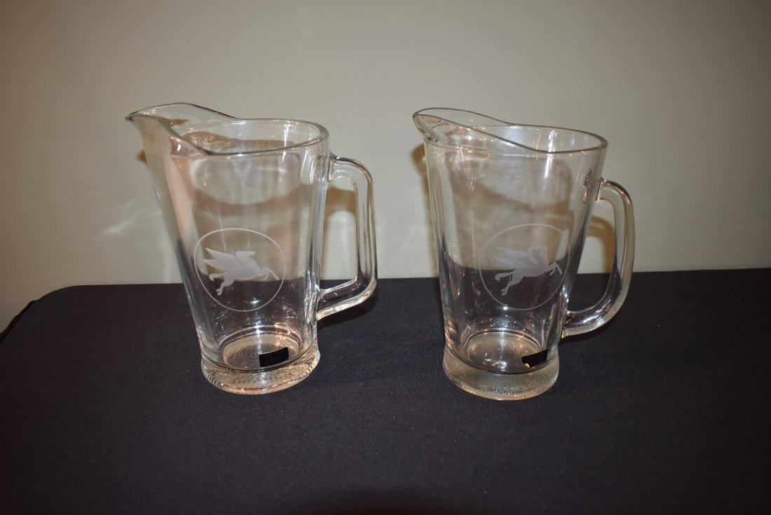 Pair of Hall Reed Mobil Gas Beer Pitchers