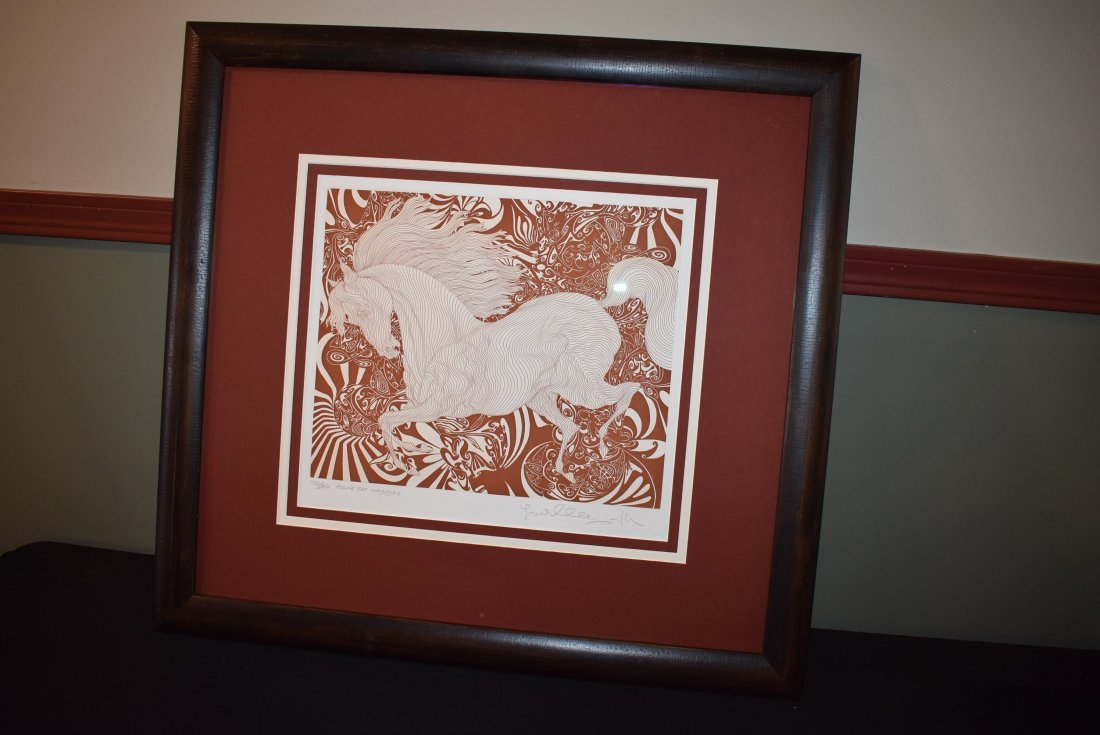 Guillaume Azoulay Signed Numbered Etching of a Horse