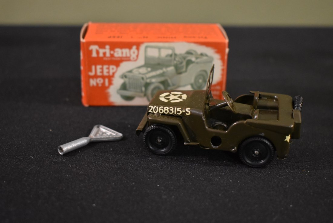 Vintage Tri-ang Minic No. 1 Army Jeep Wind Up Toy Litho