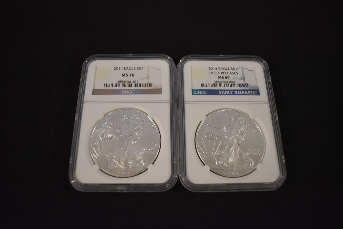 Lot of 2 2014 Silver Eagles NGC