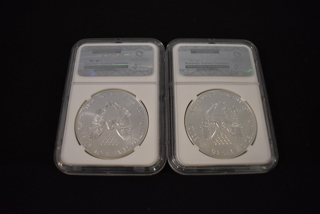 Lot of 2 2014 Silver Eagles NGC - 2
