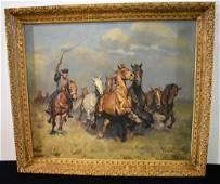 Janos Viski OIl Painting on Canvas Wild Horses