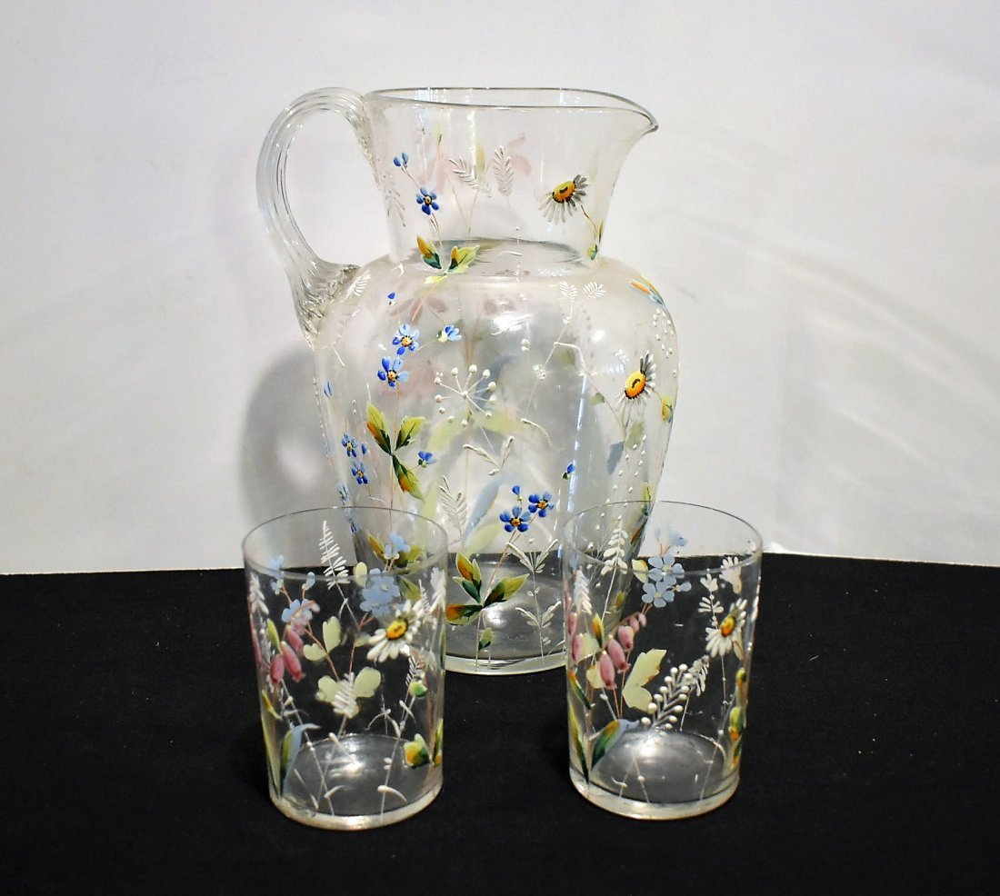 Beautiful Vintage Hand Painted Pitcher & Glasses Set
