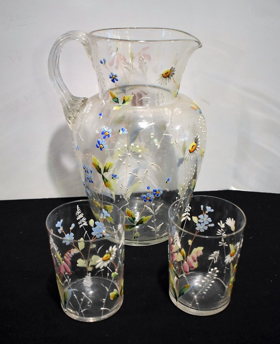 Beautiful Vintage Hand Painted Pitcher & Glasses Set - 2