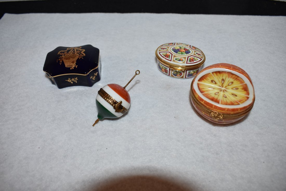 lot of 4 Limoges France and Staffordshire Trinket Boxes