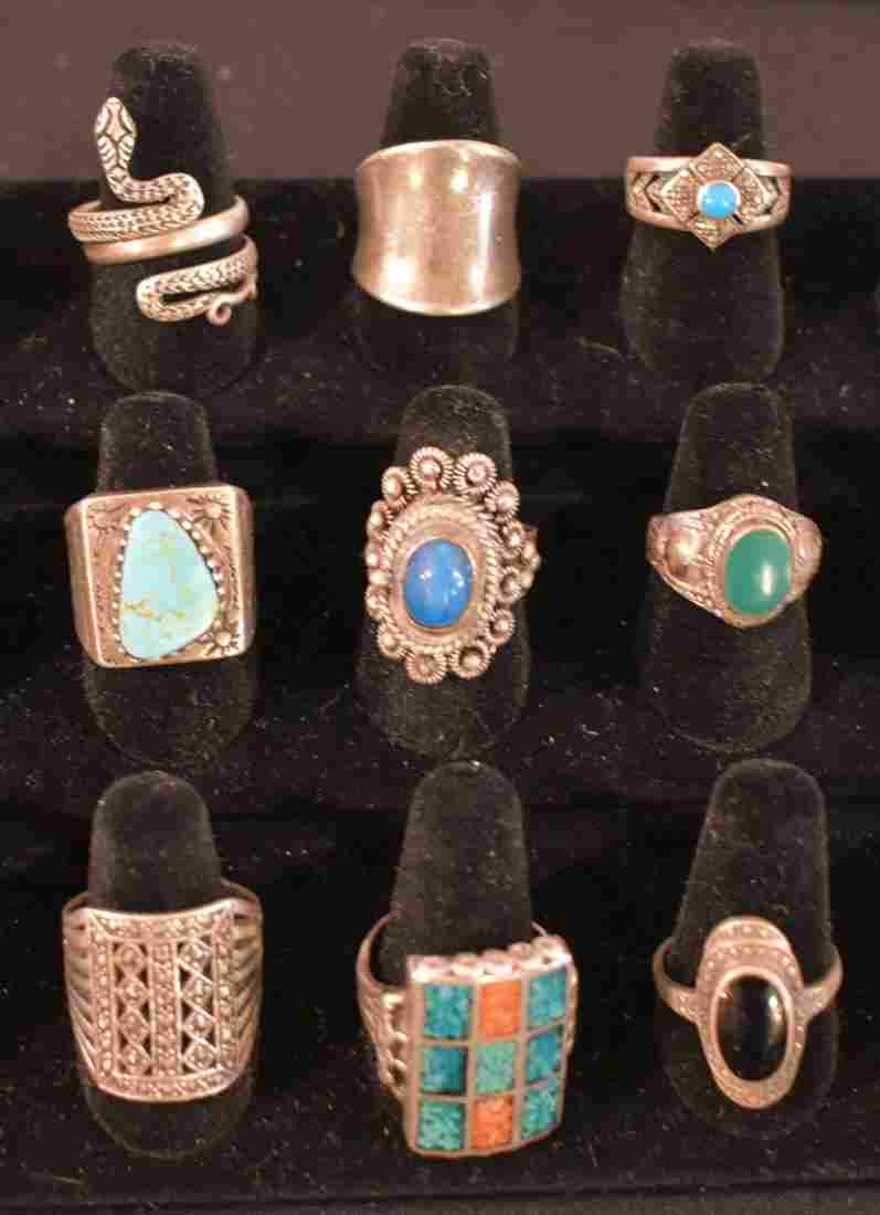 Group of 9 Sterling Silver Rings