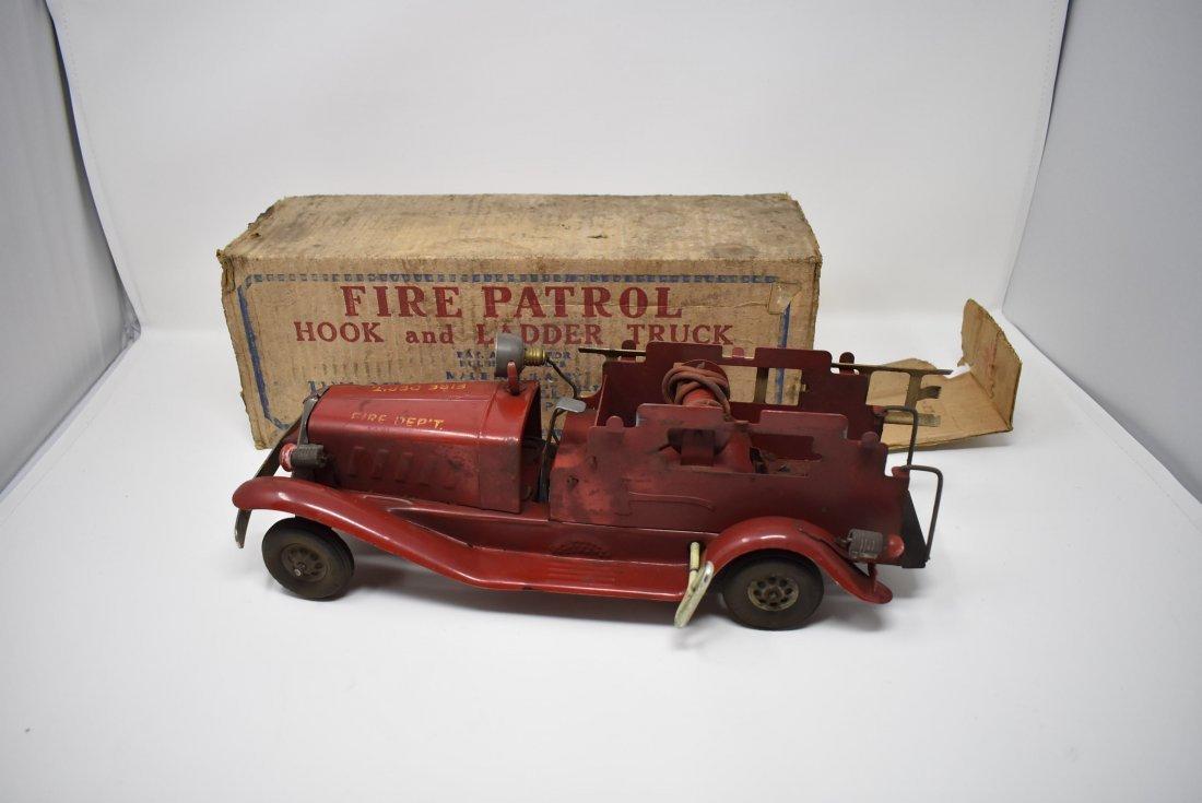 Vintage Girard Pressed Steel Fire Truck Wind-Up w Box
