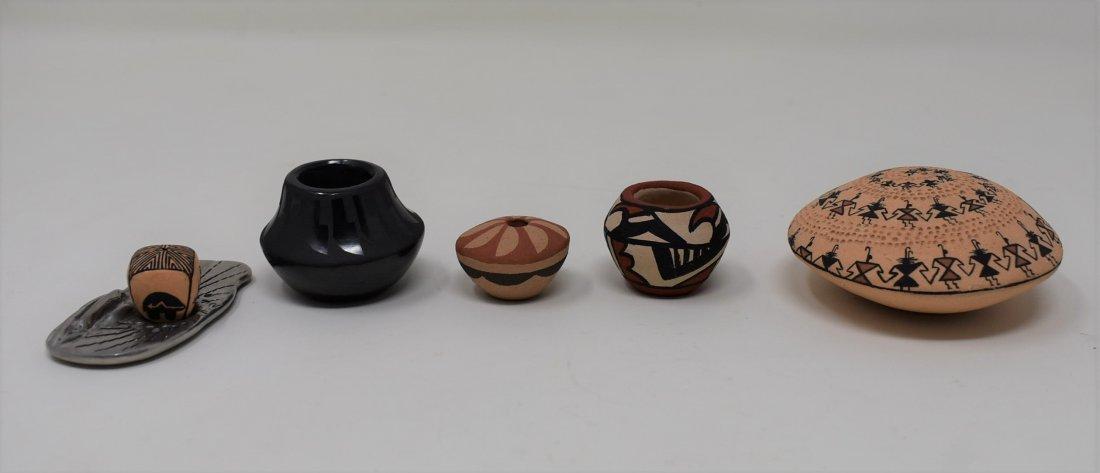 Lot of 5 Mini Native American Pottery Pots
