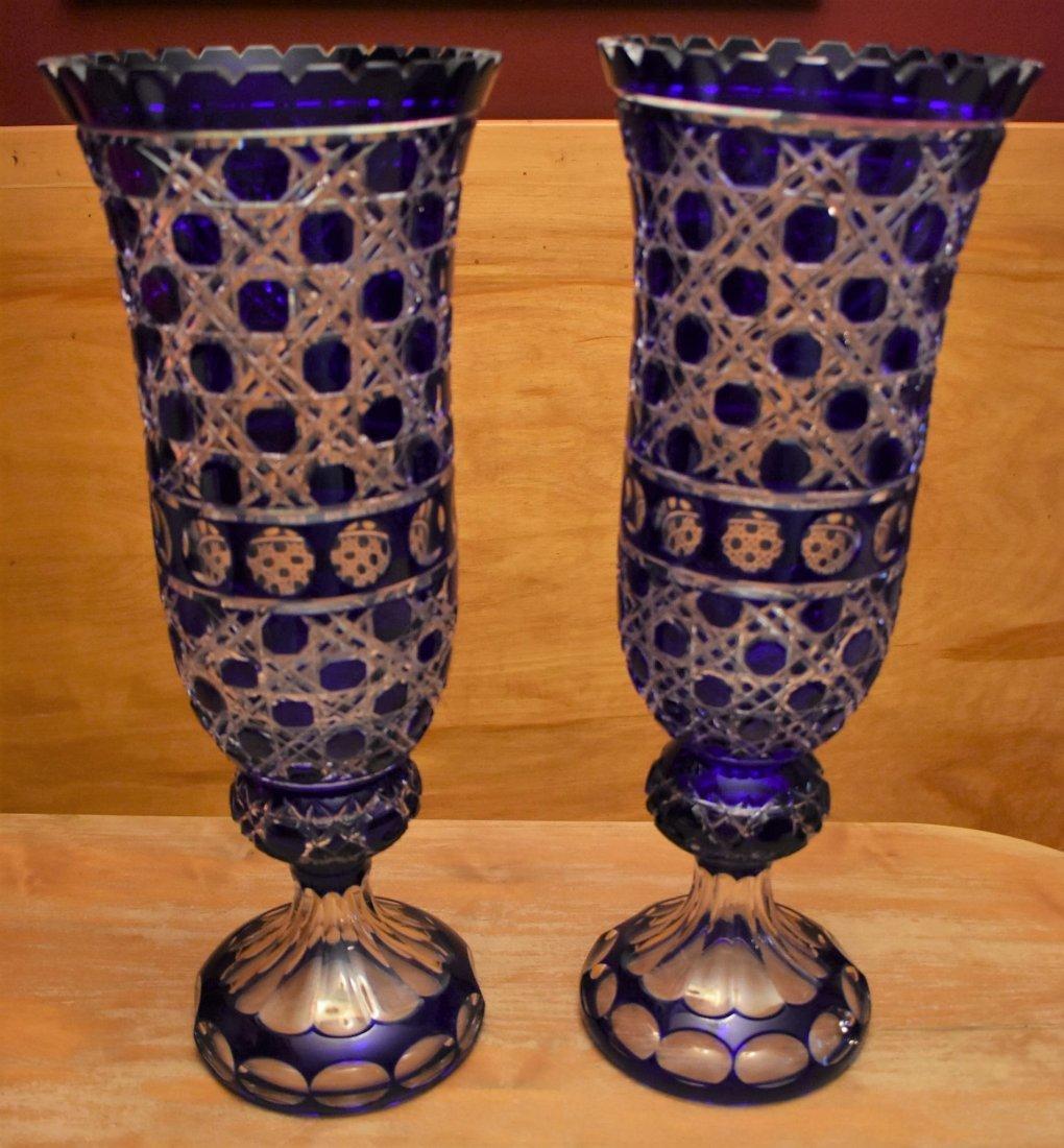 2 HUGE Cobalt Blue Bohemian Cut Glass Vases