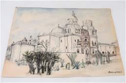 Reginald Marsh Watercolor on Paper - Southwestern