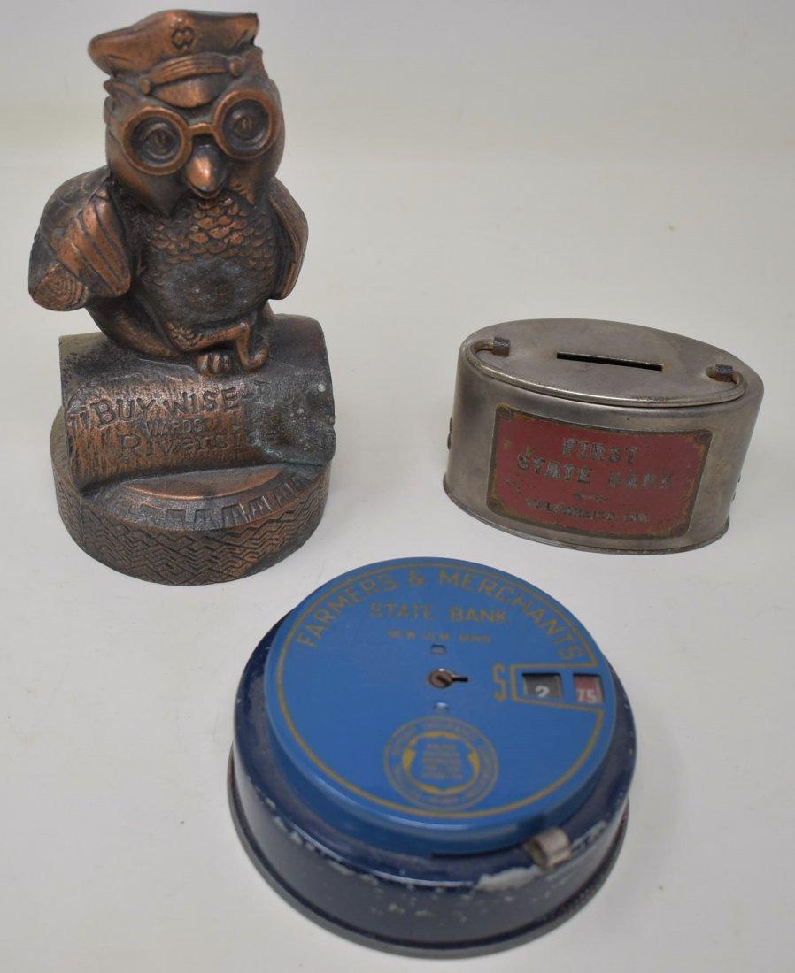 Lot of 3 Vintage Metal Banks Montgomery Wards Owl Etc.