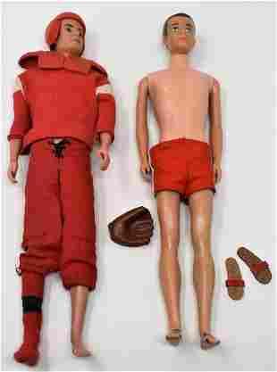 Lot of 2 Early Ken Barbie Dolls By Mattel