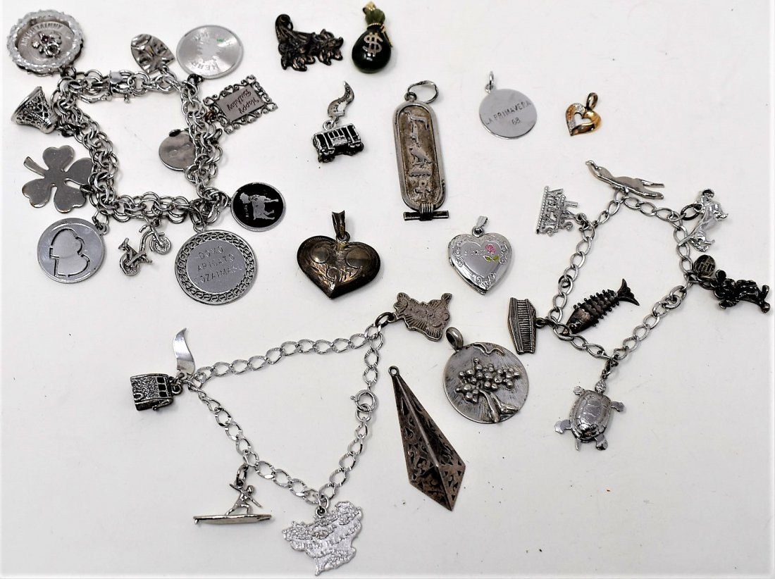 Lot of Sterling Silver Charms & Charm Bracelets