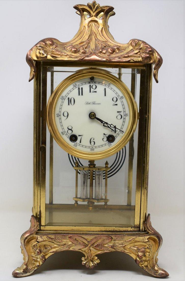 ANTIQUE SETH THOMAS GILT CASE CRYSTAL REGULATOR CLOCK
