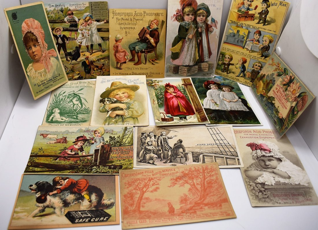 Group of Antique Medical PharmaceuticalTrade Cards Ads