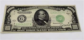 1934 $1000 Federal Reserve Note Washington D.C.